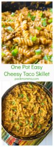 One Pot Easy Cheesy Taco Skillet | One Pot Easy Cheesy Taco Skillet is the perfect combination of spicy meat, creamy cheese and tender pasta. Great for busy weeknights! | A Wicked Whisk | www.awickedwhisk.com