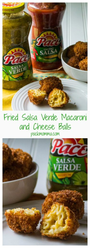 Fried Salsa Verde Macaroni and Cheese Balls | Fried Salsa Verde Macaroni and Cheese Balls are perfect Game Day appetizers with a crispy outside and creamy cheesy southwest mac n cheese on the inside! #MakeGameTimeSaucy #CollectiveBias #Ad | Pack Momma | www.awickedwhisk.com
