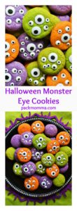 Halloween Monster Eye Cookies | Halloween Monster Eye Cookies are easy, festive and super fun to make! Soft vanilla cookies perfectly scary with candy eyeballs.. perfect for Halloween! | A Wicked Whisk | www.awickedwhisk.com #halloween #halloweenfood #halloweencookies #monstercookies #monstereyecookies