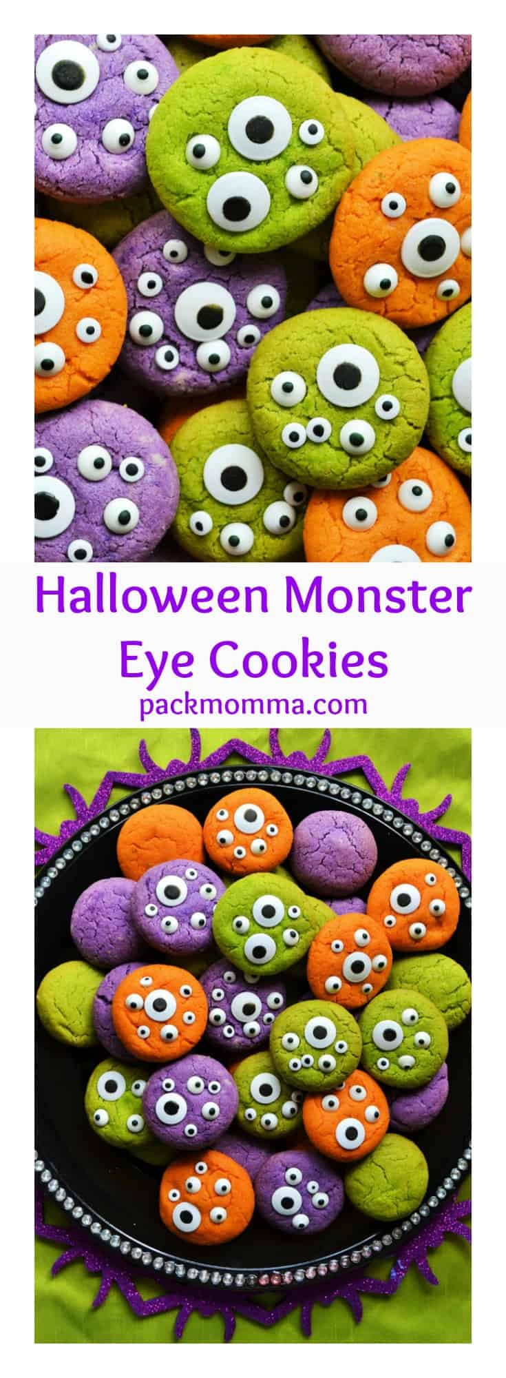 Halloween Monster Eye Cookies   Halloween Monster Eye Cookies are easy, festive and super fun to make! Soft vanilla cookies perfectly scary with candy eyeballs.. perfect for Halloween!   A Wicked Whisk   www.awickedwhisk.com #halloween #halloweenfood #halloweencookies #monstercookies #monstereyecookies