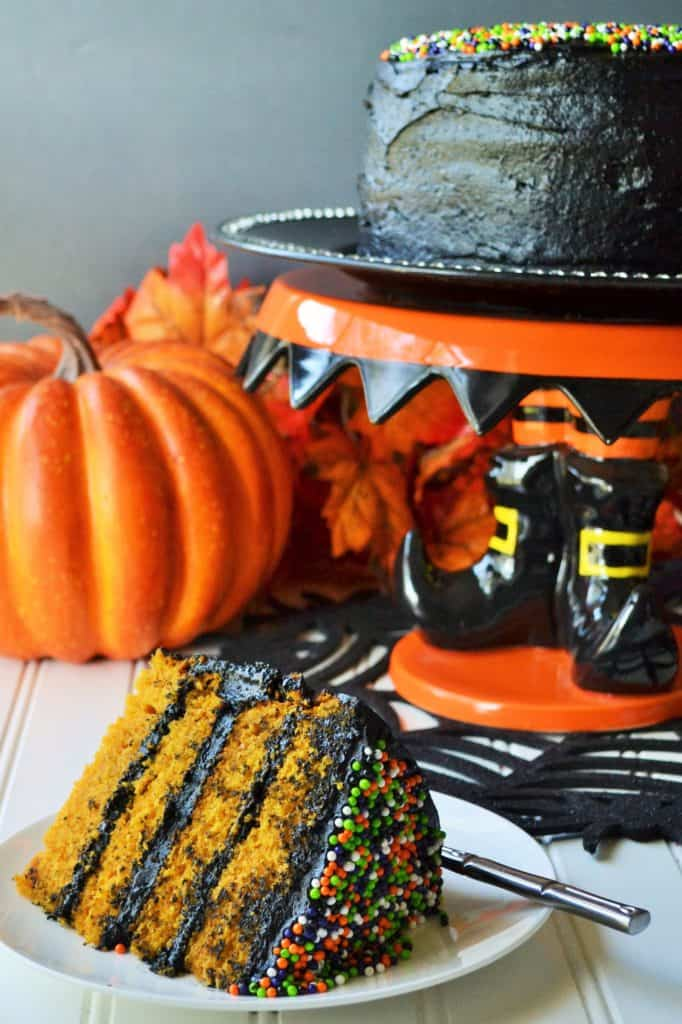 Halloween Pumpkin Cake | Halloween Pumpkin Cake is the moistest and most delicious cake you will make this season! Perfect dessert to satisfy your pumpkin craving this time of year. | Pack Momma | https://www.awickedwhisk.com