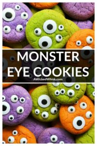 Monster Eye Cookies are soft vanilla cookies made perfectly scary with candy eyeballs and fun colors. Easy to make and super tasty, these are the perfect Halloween cookie to celebrate the season! | A Wicked Whisk #monstereyecookies #monstereyecookieshalloween #monstereyecookiesrecipe #monstereyeballcookies #eyeballcookieshalloween #halloweencookies #halloweencookieseasy #halloweencookiesideas #homemadehallowweencookies #spookyhalloweencookies #simplehalloweencookies #halloweencookiesmonster