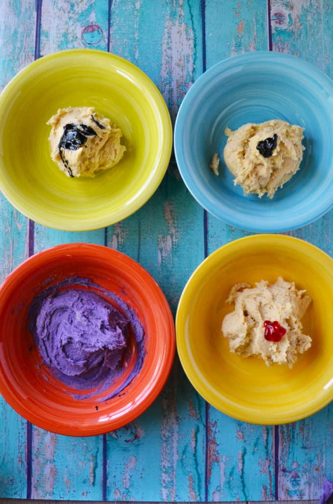 cookie dough separated for food coloring