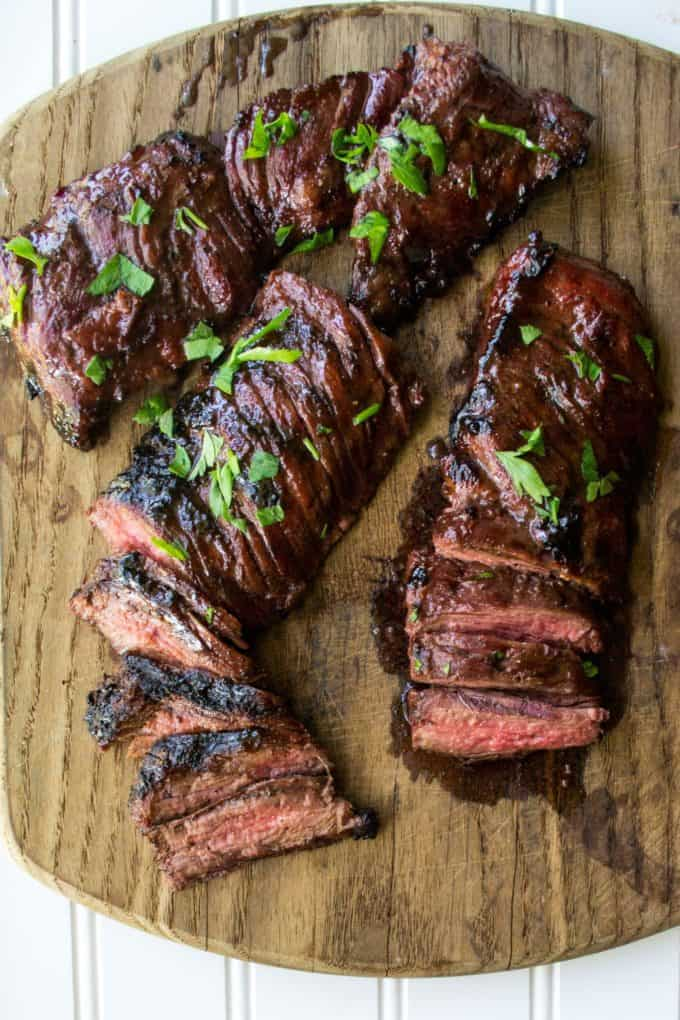 Cherry Habanero BBQ Flank Steak on a board