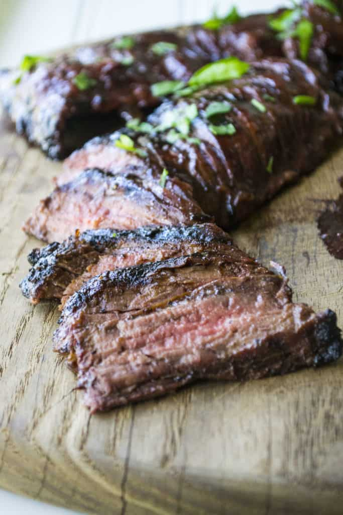 Cherry Habanero BBQ Flank Steak sliced