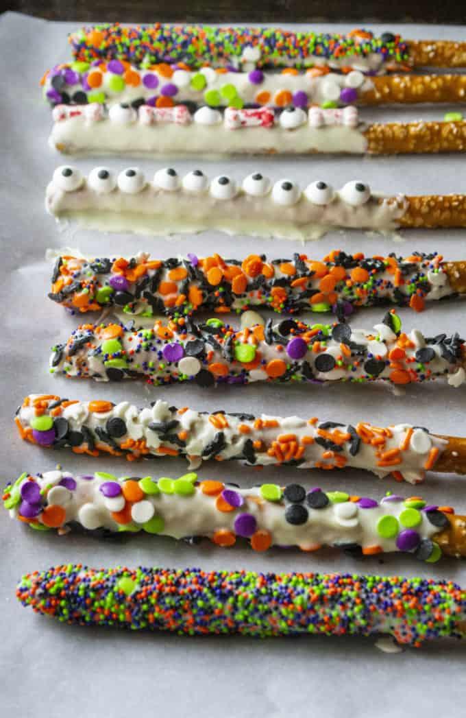 Halloween pretzels on parchment paper