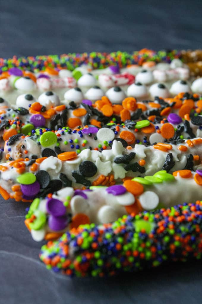 different decorated halloween pretzels
