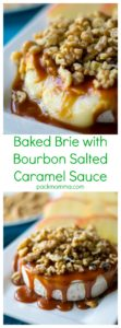 Baked Brie with Bourbon Salted Caramel Sauce | Baked Brie with Bourbon Salted Caramel Sauce is the ultimate quick, easy and delicious appetizer to add to any party, game day or holiday gathering. | A Wicked Whisk | https://www.awickedwhisk.com #bakedbrie #cheese #cheesy #saltedcaramel #caramelsauce #appetizer #bourbon #gamedayfood #holidayfood #thanksgivingfood #christmasfood #newyearsfood