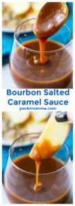 Bourbon Salted Caramel Sauce | Bourbon Salted Caramel Sauce is a sweet velvety sauce perfect for dessert cakes, cookies, pies, ice cream and just about anything else you can think of! | A Wicked Whisk | https://www.awickedwhisk.com #saltedcaramelsauce #thanksgiving #dessert #desserttopping #sauce #caramelsauce #bourbon