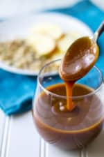 Bourbon Salted Caramel Sauce | Bourbon Salted Caramel Sauce is a sweet velvety sauce perfect for dessert cakes, cookies, pies, ice cream and just about anything else you can think of! | Pack Momma | https://www.awickedwhisk.com