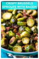 Crispy Brussels Sprouts with Bacon is the perfect easy vegetable side dish for any meal. Perfectly seasoned and mixed with garlic and bacon, these Crispy Brussels Sprouts with Bacon are the very best way to eat brussels sprouts. | A Wicked Whisk | https://www.awickedwhisk.com | #brusselssprouts #vegetable #bacon #holidayfood #thanksgivingfood #christmasfood #sidedish #crispybrusselssprouts #roastedbrusselssprouts #brusselssproutsbacon #brusselssproutsgarlic #easysidedish #easyvegetablesidedish