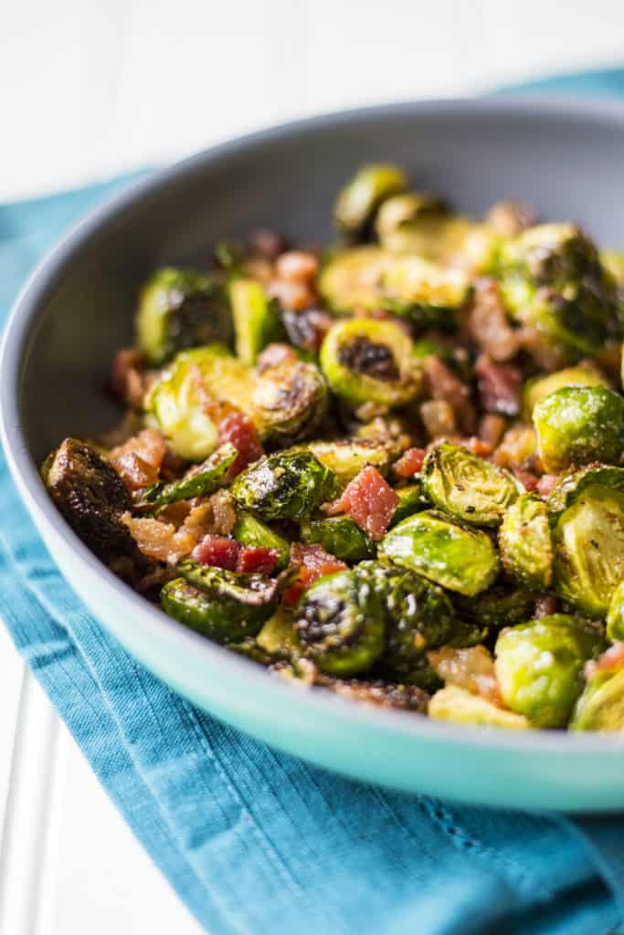 Crispy Brussels Sprouts with Bacon cooking