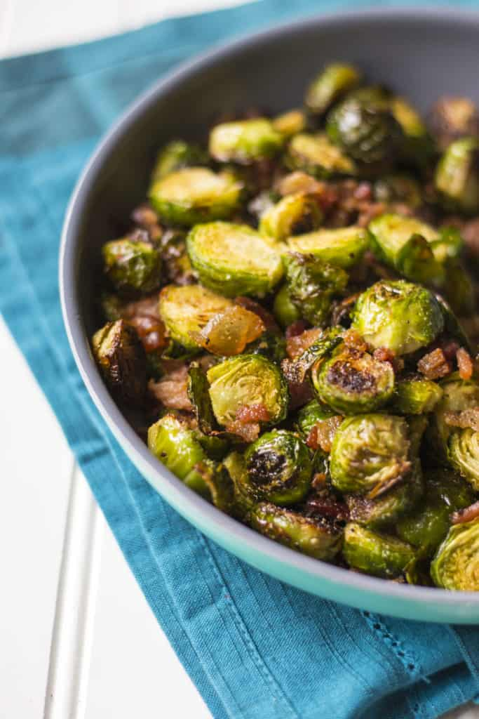 Crispy Brussels Sprouts with Bacon in a pan