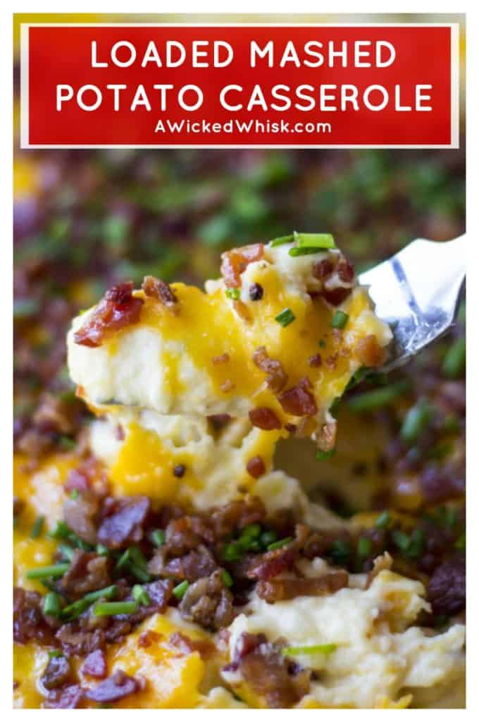 Loaded Mashed Potato Casserole |Loaded Mashed Potato Casserole is an upgraded version of your favorite potato recipe. Smothered in melted cheese and BACON, this is the best side dish ever! #mashedpotatoes #loadedmashedpotatoes #mashedpotatocasserole #loadedmashedpotatocasserole #thanksgivingsidedish #christmassidedish #easypotatosidedish #cheesypotatosidedish #loadedpotatoes #potatosidedish