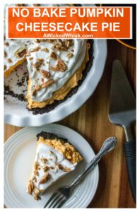 No Bake Pumpkin Cheesecake Pie is an easy creamy no bake pumpkin dessert that is ready in just two hours. Easy to make, this No Bake Pumpkin Cheesecake Pie is the perfect easy pumpkin dessert for last minute invites and potluck parties! #pumpkin #pumpkinnobake #falldesserts #pumpkindessert #pumpkinmousse #thanksgivingdessert #pumpkincheesecake #pumpkincheesecakpie #nobakepumpkindessert
