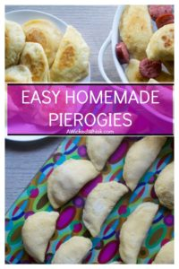 Homemade Pierogies are Polish dough dumplings stuffed with potatoes, onion and cheese before bring boiled, fried and served with melted butter and sour cream for the ultimate comfort food dinner. | A Wicked Whisk #homemadepierogies #homemadepierogirecipe #homemadepierogieseasy #homemadepierogiespolish #pierogirecipe #pierogiesandkielbasa #pierogirecipepolish #pierogirecipepolishcheese #homemadepierogiesdough #pierogieshomemade #pierogieshomemadedoughrecipe #pierogieshomemademashedpotatoes