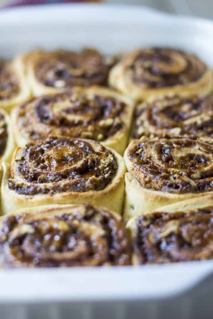 cinnamon buns cooked in a baking pan