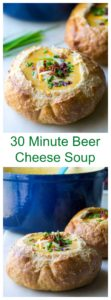 Beer Cheese Soup | Beer Cheese Soup is creamy, cheesy and the perfect comfort food to warm you up on a cold day. Serve up this easy Beer Cheese Soup recipe in a bread bowl and garnish with some bacon and chives for the perfect meal. | A Wicked Whisk | https://www.awickedwhisk.com #30minutesoup #beercheesesoup #cheesesoup #30minutemeal #quickmeal #comfortfood