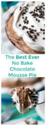 No Bake Chocolate Mousse Pie is a rich chocolate mousse pie with a chocolate cookie crust and a fluffy chocolate whipped filling. Easy and fast to make, this No Bake Chocolate Mousse Pie will be your new favorite dessert. | A Wicked Whisk | https://www.awickedwhisk.com #chocolatemoussepie #chocolatepie #nobakepie #nobakedessert #valentinesdaydessert #thanksgivingdessert #summerdessert #christmasdessert