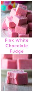 Pink White Chocolate Fudge is easy, delicious and FUN! Creamy raspberry flavored pink fudge made with white chocolate and sprinkles, this Pink White Chocolate Fudge is perfect for Valentine's Day or ANY day! | A Wicked Whisk | https://www.awickedwhisk.com #pinkfudge #pinkfood #valentinesdaydessert #valentinesdayfudge #valentinesdayfood #fudge #raspberryfudge #whitechocolatefudge