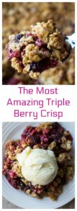 Triple Berry Crisp is the dessert that is just too good to be true. Sweet, tart, juicy and let's not forget that crunchy topping, Triple Berry Crisp is both bright and colorful to look at and delightfully delicious to eat. | A Wicked Whisk | https://www.awickedwhisk.com #tripleberrycrisp #crisp #berrycrisp #valentinesdaydessert #valentinesdayfood #sweets #berries #dessert #fourthofjulydessert #july4thfood #redwhitebluefood #easydessert #easterdessert #easterfood #thanksgivingdessert #christmasdessert