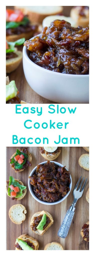 Bacon Jam is the perfect salty, sweet, savory condiment spread to add to appetizers, sandwiches and snacks alike. Made with coffee, bacon, brown sugar and maple syrup, this rich and amazing Bacon Jam recipe will change your life! | A Wicked Whisk | https://www.awickedwhisk.com #baconjam #bacon #gamedayfood #homemadejam #savory #baconappetizer #partyfood