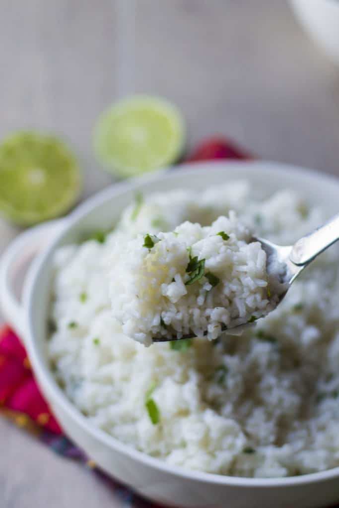 Chipotle Cilantro Lime Rice on a spoon