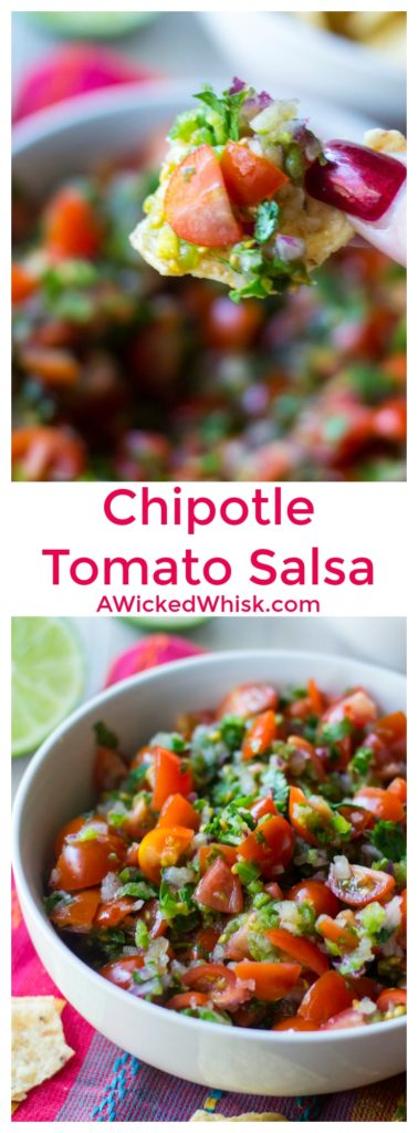 Chipotle Tomato Salsa is the ultimate easy recipe for fresh salsa. Just five ingredients and a few minutes and your Chipotle Tomato Salsa is ready to serve! | A Wicked Whisk | https://www.awickedwhisk.com #chipotle #chipotlecopycat #chipotlecopycatrecipes #chipotletomatosalsa #tomatosalsa #salsa #chipotlesalsa #appetizer