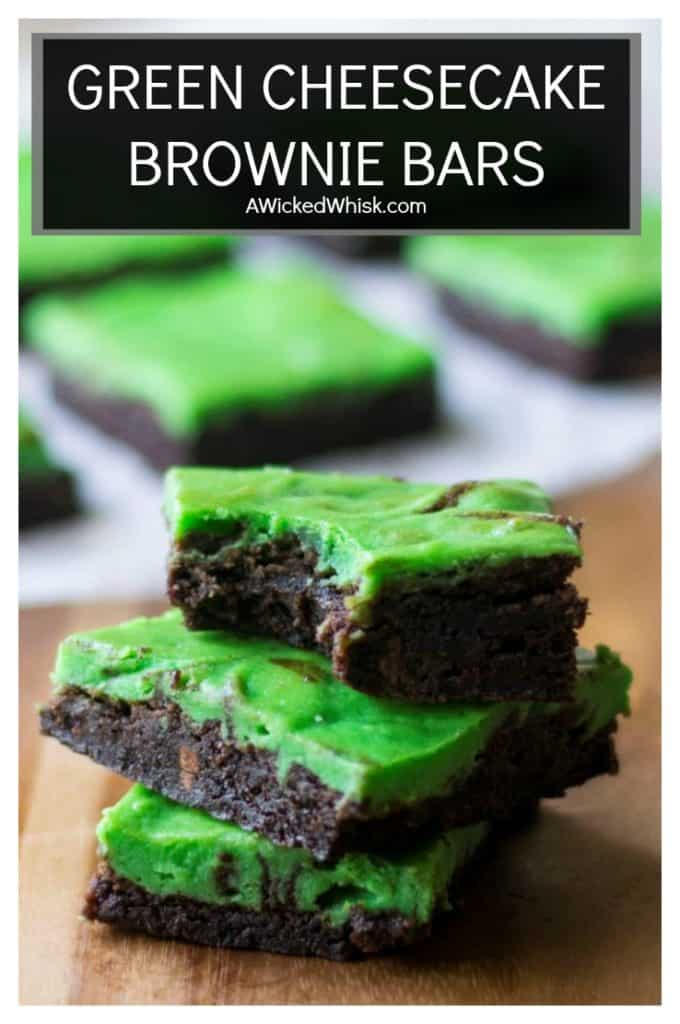 Green Cheesecake Brownie Bars are moist and fudgy with a creamy green cheesecake swirl. Grab one of these easy Green Cheesecake Brownie Bars while you can because they won't last long! Perfect for celebrating St. Patrick's Day and Christmas! | A Wicked Whisk | #greenfood #stpatricksdaycheesecakebars #stpatricksdayfood #stpatricksdaydessert #stpatricksdaytreats #stpatricksdaycheesecake #stpatricksdaybrowniegreen #stpatricksdaydessertsbaking #greenbrownies
