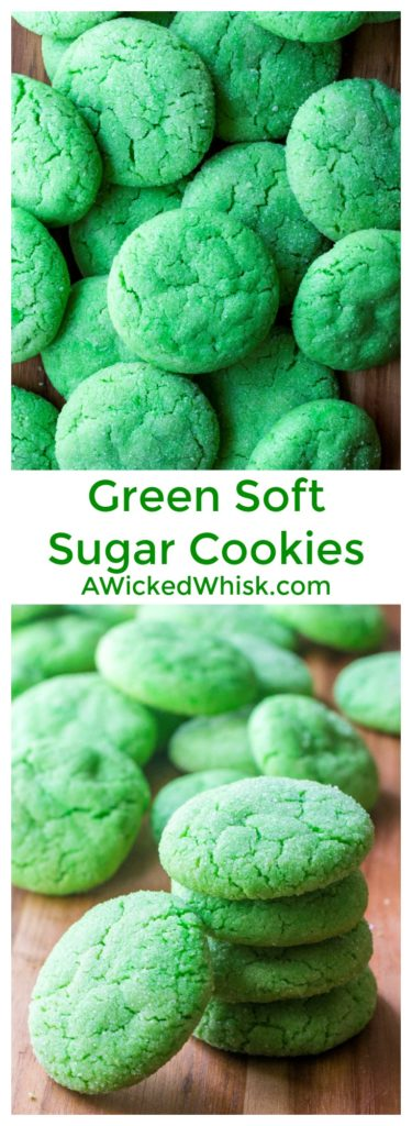Green Soft Sugar Cookies are the easiest soft baked sugar cookies you will ever make. Soft, chewy and delicious.. this will be your new favorite recipes for soft sugar cookies. | A Wicked Whisk | https://www.awickedwhisk.com #greensugarcookies #greenfood #sugarcookies #softsugarcookies #softbakedsugarcookies #sugarcookiessoft #stpatricksdaycookies #stpatricksdayfood #christmascookies #greenchristmascookies #eastercookies