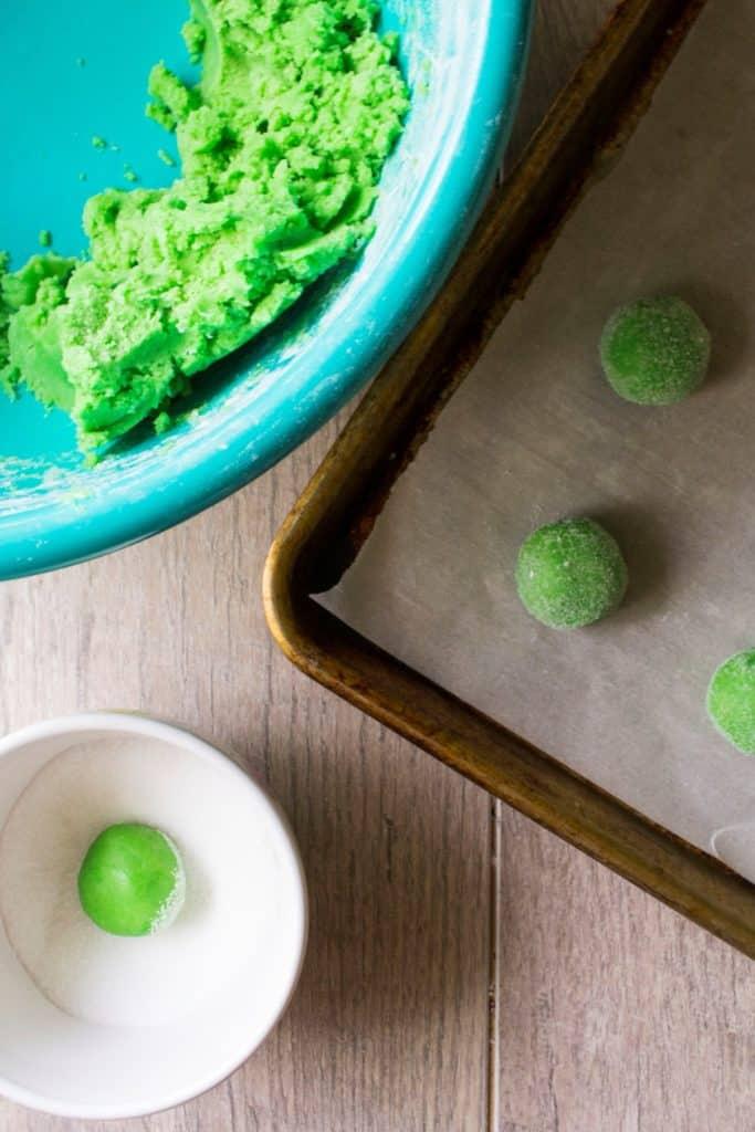 Green Soft Sugar Cookies in balls