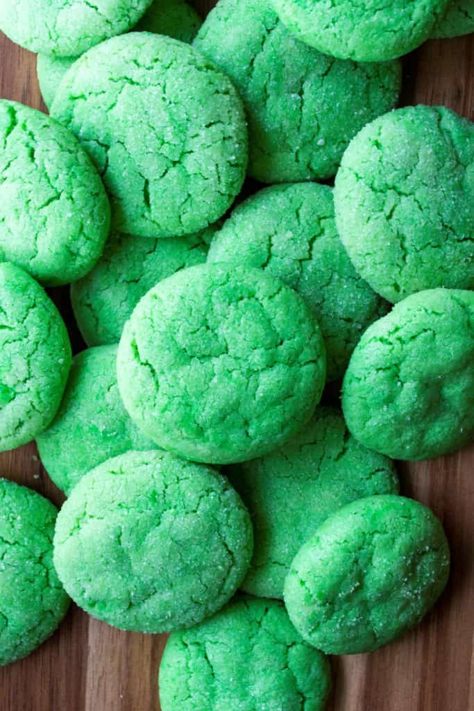 Green Soft Sugar Cookies piled up