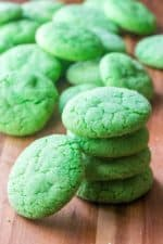 Green Soft Sugar Cookies stacked up