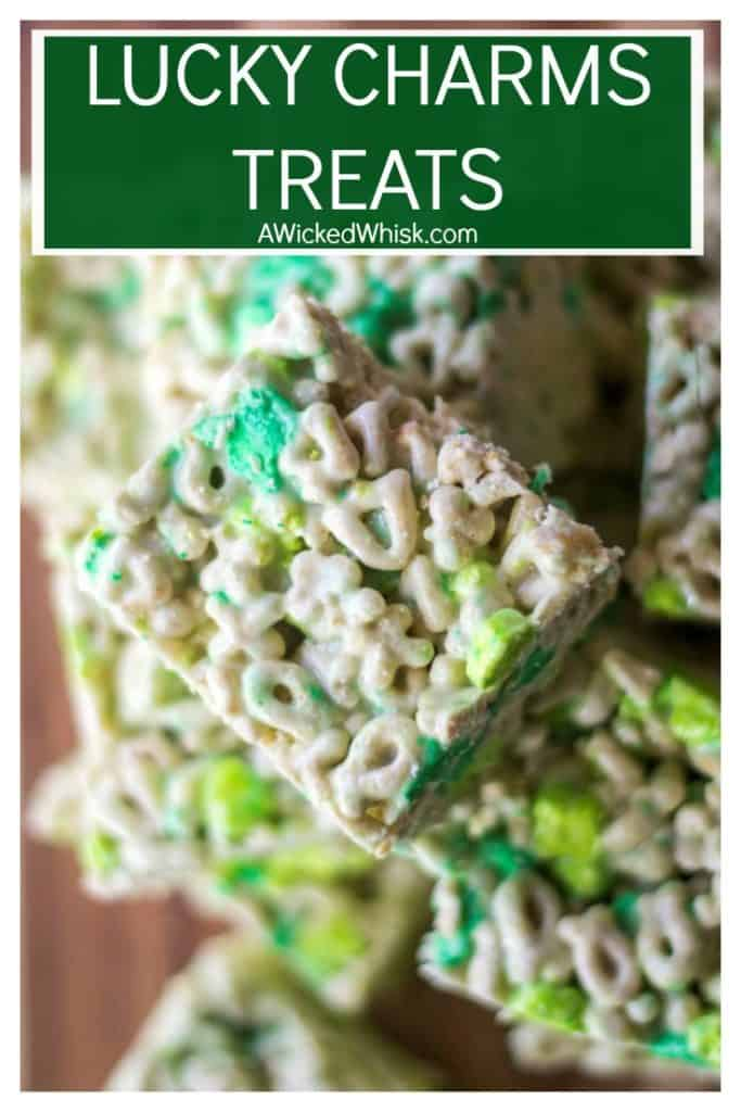 Lucky Charms Treats are the perfect no bake dessert to share with family, friends and kids alike. Easy to make, Lucky Charms Treats are the snack you know everyone will love .. and great for St. Patrick's Day! | A Wicked Whisk | #luckycharmstreats #cerealbars #cerealtreats #ricekrispietreats #stpatricksdayfood #greenfood #stpatricksdaydessert #nobakedessert #stpatricksdayfooddessertsricekrispietreats #stpatricksdayricekrispietreats