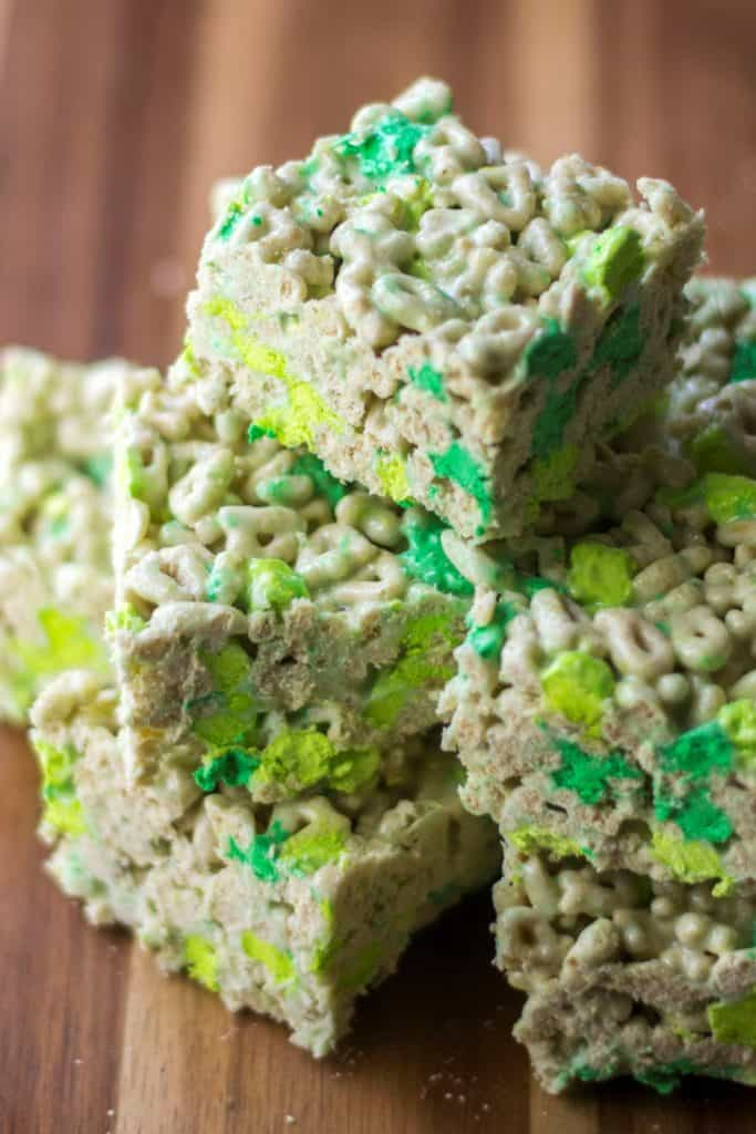 Lucky Charms Treats piled up