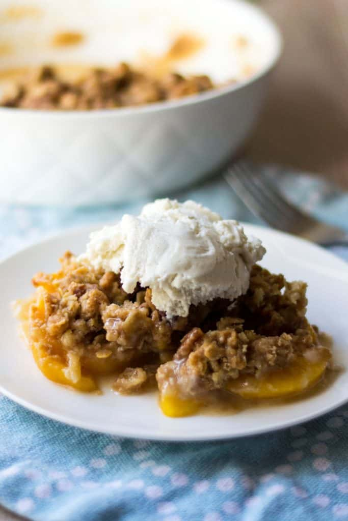 Honey Bourbon Peach Crumble on a plate