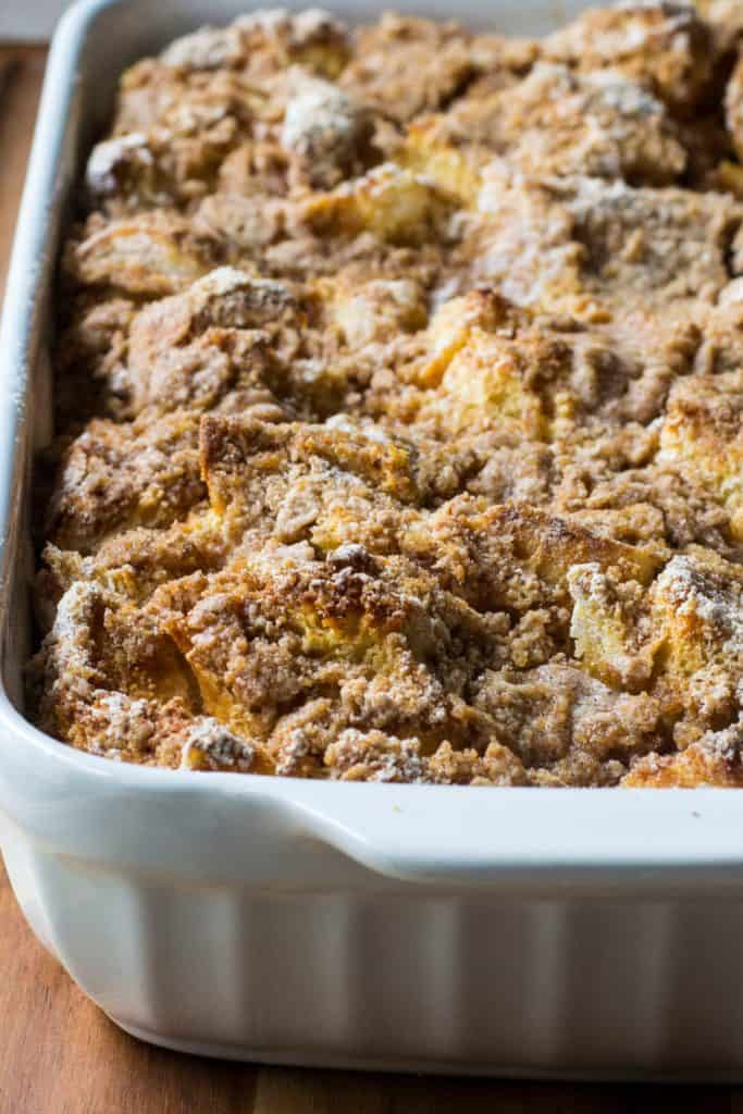 Overnight Challah French Toast Casserole in a baking pan