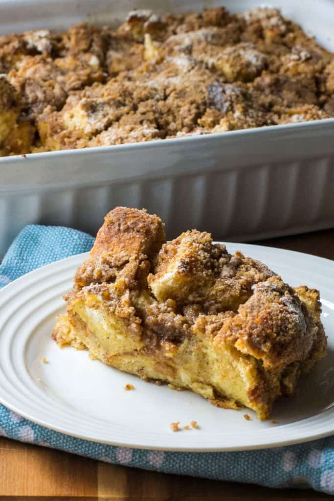 Overnight Challah French Toast Casserole white plate
