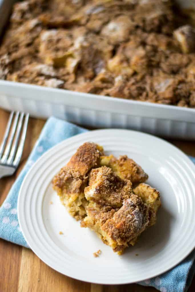 Overnight Challah French Toast Casserole on a plate