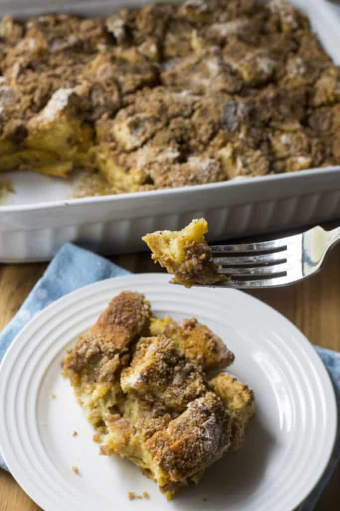 Overnight Challah French Toast Casserole on a fork