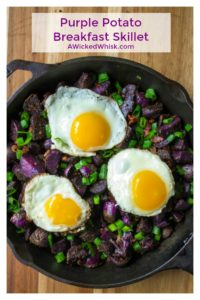 Purple Potato Breakfast Skillet is easy, delicious and the perfect way to start your day. Tasty quick and easy, this Purple Potato Breakfast Skillet will have you looking forward to waking up! | A Wicked Whisk | https://www.awickedwhisk.com #breakfast #breakfastskillet #breakfastideas #brunchideas #brunch #potatoskillet #breakfastpotatoes #purplepotatoes #skillet #skilletpotato