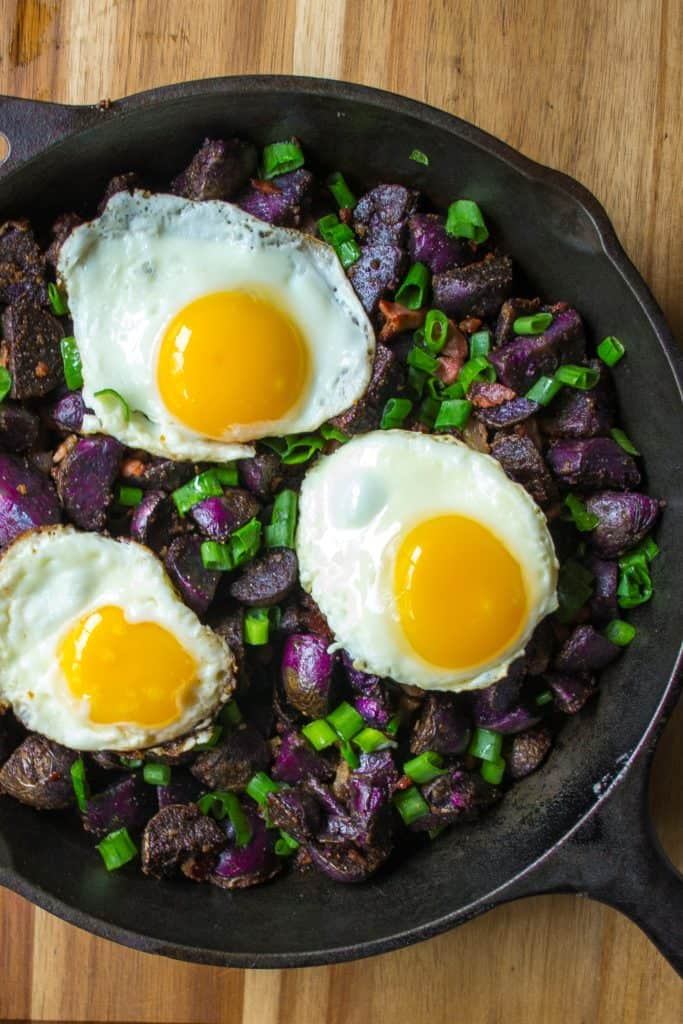 Purple Potato Breakfast Skillet in a pan