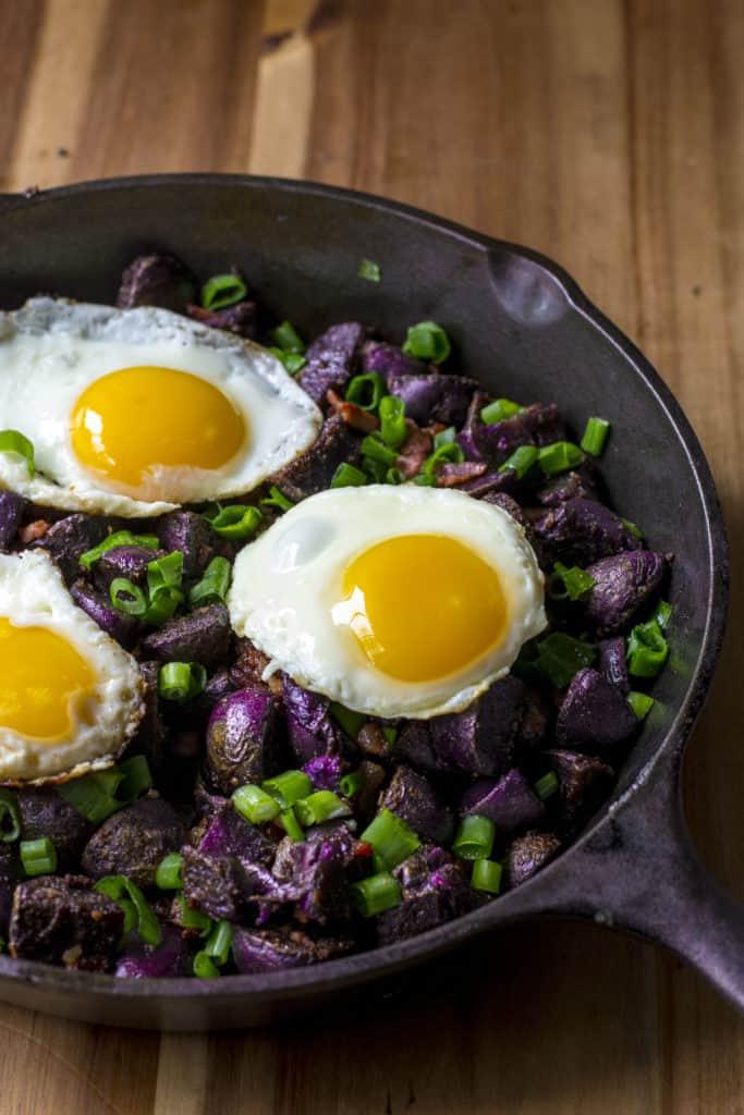 Purple Potato Breakfast Skillet in cast iron pan