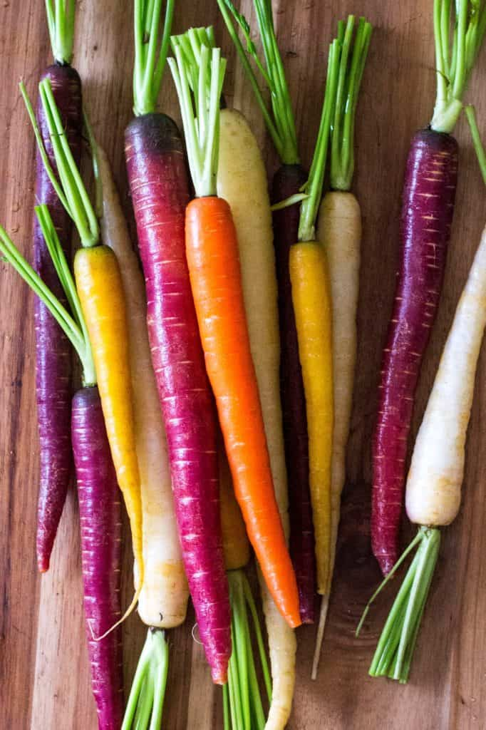 Roasted Honey Carrots - rainbow carrots