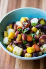 Roasted Rainbow Carrots - chopped in bowl