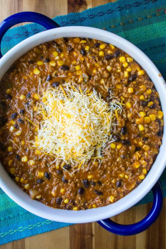 BeefEnchilada Dip ready to bake