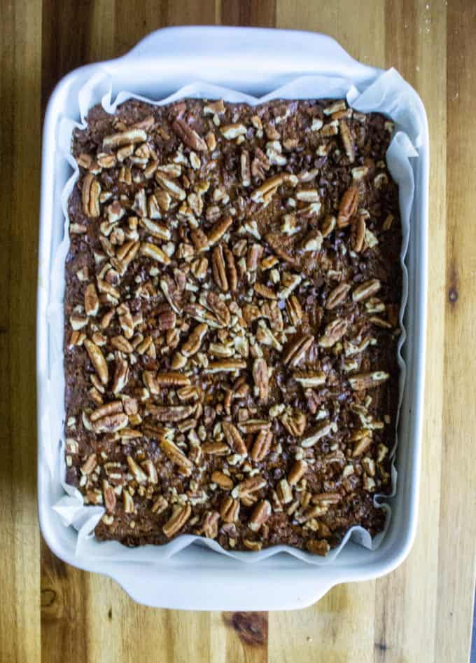 pan of pecan pie bars