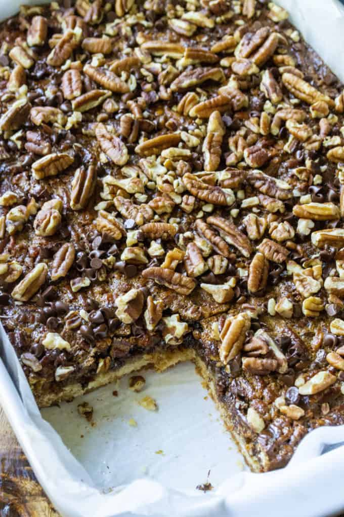 Chocolate Pecan Pie Bars in a pan!