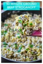 Ground Beef Stroganoff is a delicious and easy 30 minute meal idea that is sure to please the whole family.  Creamy, hearty and made with ground beef and no mushrooms, this Ground Beef Stroganoff  is the perfect quick meal for a fast dinner. | A Wicked Whisk #groundbeefstroganoff #groundbeefstroganoffeasy #groundbeefstroganoffnomushrooms #beefstroganoffnomushrooms #30minutemealgroundbeef #bestgroundbeefstroganoff #groundbeefstroganoffrecipeeggnoodles
