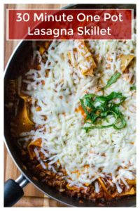 One Pot Lasagna Skilletis a fast and easy spin on the ultimate comfort food. Simple, quick and oh so cheesy, this One Pot Lasagna Skilletis packed with huge flavor without the wait.. the perfect 30 minute meal. | A Wicked Whisk | https://www.awickedwhisk.com #lasagna #lasagnaskillet #skilletlasagna #lasagnaskilletonepot #onepotmeals #onepotpasta #30minutemeal